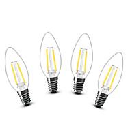 2W E14 LED лампы в форме свечи C35 2 COB 200 lm Тёплый белый 2700 К Декоративная AC 220-240 V