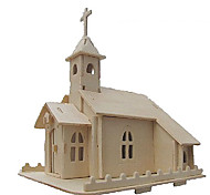 cheap -3D Puzzles Jigsaw Puzzle Model Building Kit Church 3D Simulation DIY Wood Classic Unisex Gift