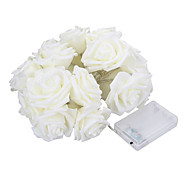 cheap -5M 20 LED Battery Operated String Flower Rose Fairy Light Wedding Room Garden Decor (warm white)