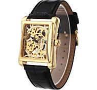 WINNER® Men's Square Gold Dial Black Leather Band Manual Mechanical Skeleton Wrist Watch Cool Watch Unique Watch Fashion Watch