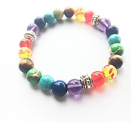 cheap -Men's Women's Turquoise Yoga Bracelet Strand Bracelet - Natural Fashion Round Rainbow Bracelet For Wedding Party Sports