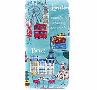 Недорогие -Кейс для Назначение SSamsung Galaxy A5(2017) A3(2017) Кошелек Бумажник для карт со стендом Флип Чехол Вид на город Твердый Искусственная