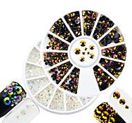 2pcs/set Fashion DIY Beauty Transparent&Purple Gold Mixed Size Shining Resin Jelly Rhinestone Decoration Nail Art Round Disc Glitter Rhinestone