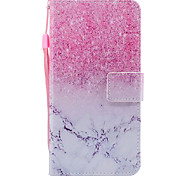 For Apple iPhone 7 7 Plus 6S 6 Plus SE 5S 5 Case Cover Marble Pink Sand Pattern Painted PU Skin Material Card Stent Wallet Phone Case