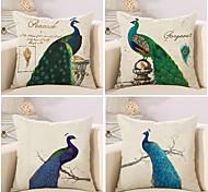 Set Of 4 Beautiful Peacock Printing Pillow Cover 45*45Cm Cotton/Linen Pillow Case Sofa Cushion Cover