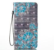 Для iphone 7 плюс 7 3d эффект синий цветочный узор pu материал кошелек раздел телефон корпус 6 плюс 6s 5 se