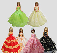 Party/Evening Dresses For Barbie Doll Multiple Colors Dresses For Girl's Doll Toy Set of 6