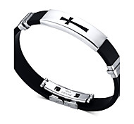 Men's ID Bracelets Friendship Hip-Hop Rock Movie Jewelry Initial Jewelry Costume Jewelry Fashion Silicone Titanium Steel Circle Round