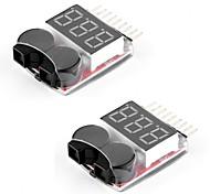 2 packs rc lipo monitor de bateria testador de alarme verificador alarme de alarme de baixa tensão com indicador led para 1-8s lipo life
