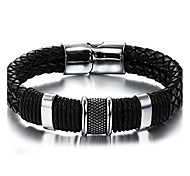 cheap -Men's Stainless Steel Leather Leather Bracelet - Vintage Hip-Hop Fashion Round Circle Geometric Black Bracelet For Birthday Dailywear