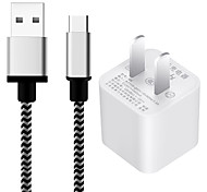 US Plug Phone USB Type-c Charger With Cable Charger Kit 100 cm  1 USB Port 1A AC 100V-240V