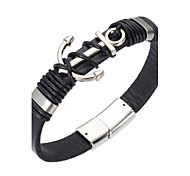 cheap -Men's Leather Bracelet Jewelry Natural Fashion Leather Alloy Irregular Jewelry Special Occasion Gift Costume Jewelry Black