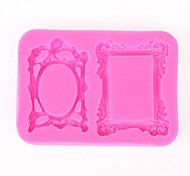 cheap -Random Color Sugarcraft 2 Mirror or Photo Frames or Picture Frame Candy Silicone Mold
