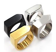 baratos -Homens Anel Básico Quadrado bijuterias Clássico Aço Inoxidável Forma Geométrica Jóias Para Presentes de Natal