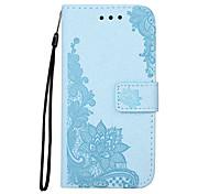 Кейс для Назначение SSamsung Galaxy S7 edge S7 Бумажник для карт Кошелек со стендом Флип Рельефный С узором Магнитный Чехол Цветы Кружева