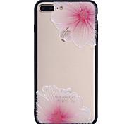 Para el iphone de la manzana 7plus 7 phone case el modelo de flor rosado combo pintado barniz grabado en relieve miente la caja 6s del