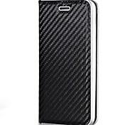 Недорогие -Кейс для Назначение Apple iPhone X iPhone 8 Бумажник для карт Магнитный Чехол Сплошной цвет Твердый Углеродное волокно для iPhone X