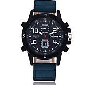 Men's Sport Watch Quartz Large Dial Leather Band Cool Black Blue Brown Green Purple Khaki