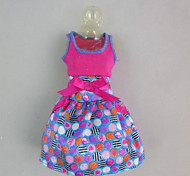 Fashion Polka Dots Dress  For Barbie Doll For Girl's Doll Toy