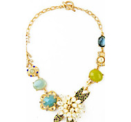 Women's Statement Necklaces Synthetic Sapphire Flower Alloy Unique Design Flower Style Flowers Floral Jewelry For Birthday Party/Evening