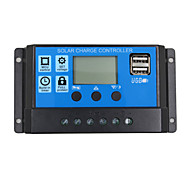 24V 12V Auto Solar Panel Battery Charge Controller 30A  PWM LCD Display Solar Collector Regulator with Dual USB Output
