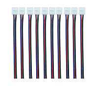 RGB 4 Pin 10mm LED Connector with Pigtail (10pcs) Flexible Light Strip Solderless Clamp On Pigtail Adapter for 10mm Wide 5050 RGB Flexible LED Strips
