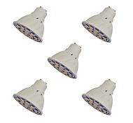abordables -5pcs 2.5W 260-300lm GU10 Focos LED MR16 21 Cuentas LED SMD 5050 Blanco Cálido 220-240V