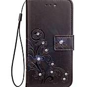 economico -Custodia Per Asus Zenfone 4 ZE554KL Zenfone 4 Selfie ZD552KL Con diamantini Con chiusura magnetica Decorazioni in rilievo Integrale Fiori