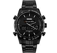 SKMEI Men's Fashion Watch Wrist watch Digital Watch Digital Calendar Water Resistant / Water Proof Large Dial Stainless Steel Band Cool