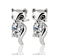 Hot Fashion Classic Cute Animal Fox Stud Earrings Alloy Silver Color Crystal Earring Zircon Jewelry Brand Design Party For Women Bridal accessories