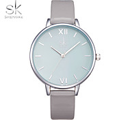 SK Women's Wrist watch Fashion Watch Chinese Quartz Large Dial Shock Resistant PU Band Luxury Casual Minimalist Grey