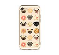 Кейс для Назначение Apple iPhone X iPhone 8 Plus Прозрачный С узором Задняя крышка Плитка С собакой Продукты питания Мягкий TPU для