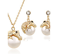 cheap -Women's Jewelry Set Necklace/Earrings Necklace Metal Alloy Rhinestone Mixed Material Alloy Circle Unique Design Dangling Style Pendant