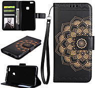 cheap -Case For Huawei P9 Lite Huawei Huawei P8 Lite Card Holder Wallet with Stand Flip Full Body Cases Mandala Hard PU Leather for P10 Plus P10