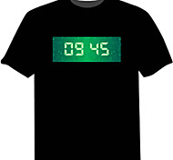 Light Up LED T-shirts T-Clock Time Display Cotton Novelty 4 AAA Batteries