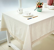 cheap -Natural Plain Pattern Table Cloth White Cotton Blend Material 1Pc