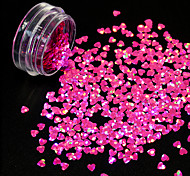 1g/Bottle New Fashion Sweet Style Charm Pink 3D Decoration Nail Art Starry Glitter Lovely Heart Shape Sequins Shining DIY Beauty Paillette 1206W