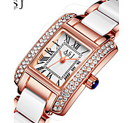 cheap -ASJ Women's Wrist Watch Japanese Water Resistant / Water Proof / Creative Alloy / Ceramic Band Sparkle Silver / Rose Gold