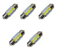 5шт с двухсторонней подсветкой светодиодов 31мм 1w 3smd 5050 обломок 80-100lm 6500-7000k dc12v подсветка номерного знака