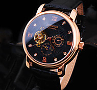 cheap -Men's Automatic self-winding Mechanical Watch / Wrist Watch Water Resistant / Water Proof Leather Band Luxury / Sparkle Black / Brown
