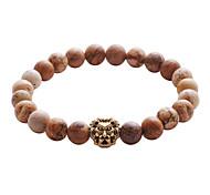 Lureme Lava Rock Stone Matte Black Agate Mens Gemstone Beads Elastic Bracelet with Lion Head