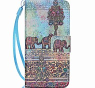 Étui pour Apple iPod touch 5 touch 6 sacoche porte-carte portefeuille avec support flip pattern étui plein corps elephant hard pu leather