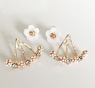 cheap -Women's Adorable Floral Flower Crystal Rhinestone / Silver Plated / Gold Plated Stud Earrings / Front Back Earrings - Metallic /