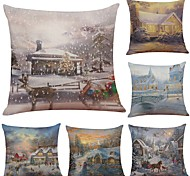 cheap -Set of 6 Warm Christmas Snow View Linen Cushion Cover Home Office Sofa Square Pillow Case Decorative Cushion Covers Pillowcases (18*18Inch)
