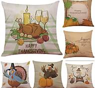 cheap -Set of 6 Thanksgiving Pumpkin Linen Cushion Cover Home Office Sofa Square Pillow Case Decorative Cushion Covers Pillowcases (18*18Inch)