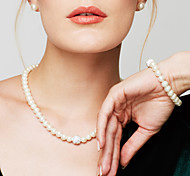cheap -Women's Pearl Imitation Diamond Jewelry Set Chain Bracelet Pearl Necklace  -  Bridal Elegant Fashion Circle Jewelry White Necklace For