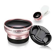 Mobile Phone Lens 180 Fish-Eye Lens 0.45X Wide-Angle Lens 15X Macro Lens Aluminium Alloy Glass 52MM For Android Cellphone iPhone