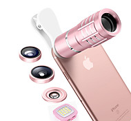 ASZUNE M1812 Mobile Phone Lens 180 Fish-Eye Lens 10X Long Focal Lens 0.36X Wide-Angle Lens 15X Macro Lens Aluminium Alloy Glass For Android iPhone