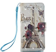 Étui pour apple ipod touch 5 touch 6 sacoche porte-carte portefeuille avec support flip pattern corps entier eiffel tower hard pu leather