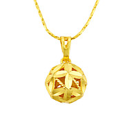 24K Gold Plated Clover Flower Ball Pendant Necklaces Princess Fashion Luxury Simple Style Jewelry For Wedding Engagement Party